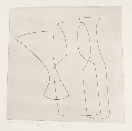 Ben Nicholson: 2 Bottles & Glass, 1967