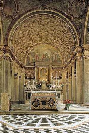 Santa Maria presso San Satiro, designed by Bramante (1482). Bramante designed an anamorphic apse to compensate for the narrow site constraints